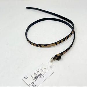 """J CREW FACTORY Leopard Calf Hair Thin 1/4"""" Belt"""